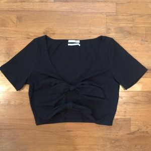 Urban Outfitters Black Ribbed Front Tie Crop Top
